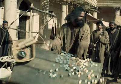 Jesus overturns the tables of the temple money changers in National Geographic's/Bill O'Reilly's