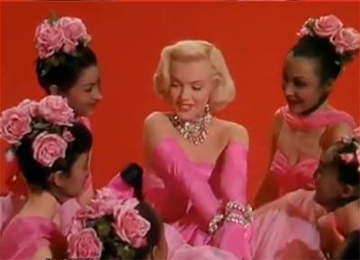 Marilyn Monroe singing 'Diamonds ae a Girl's Best Friend' in the movie 'Gentemen Prefer Blonds'