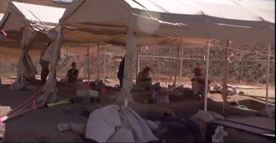 Archeological dig base camp